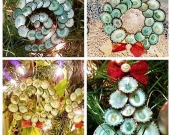 Beach Holiday Ornaments Coastal Seashell Christmas Hanging Gift- Aqua Blue Green Turquoise Small Mini Wreath Wedding Photo Shoot Prop