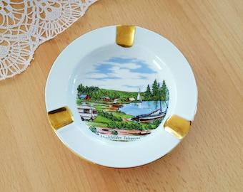 Vintage German Porcelain Ashtray, Ashtray with the Thülsfelder Talsperre, Aschenbecher