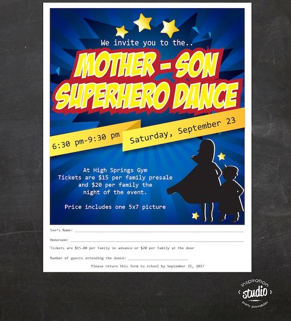 Superhero Dance Mother Son Dance Custom Printable Package