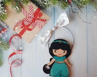 Disney Christmas Ornament, Jasmine Princess, Elsa, Anna, Cinderella, Jasmine, Snow White, Belle, Aurora, Moana, Tiana, Ariel, Merida, Mulan