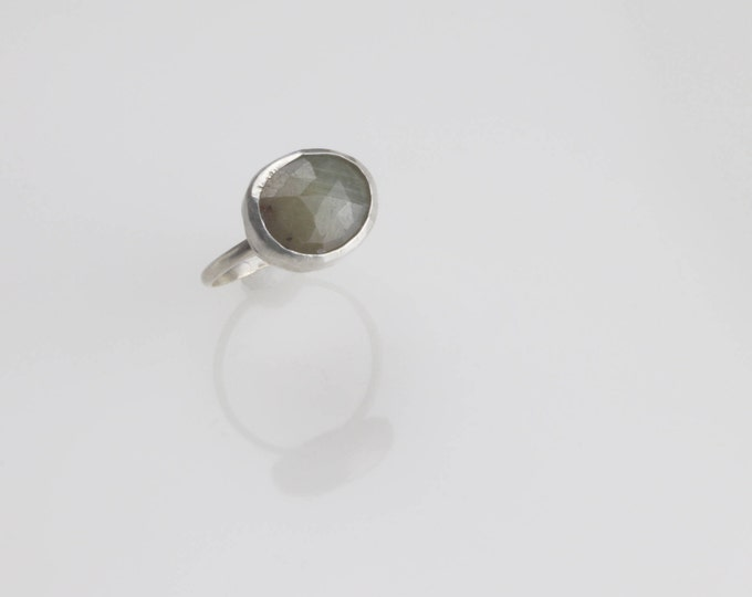 Rose cut natural sapphire sterling silver ring. Size 6.  Light green / brown / grey color sapphire. Wild Grace Jewelry