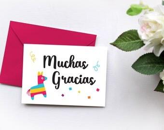 Muchas Gracias Card, First Fiesta Thank You Card, Pinata Thank You Note
