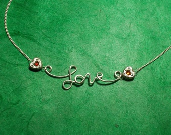 LOVE with Silver Hearts and Red Crystal Adjustable Necklace (F1)
