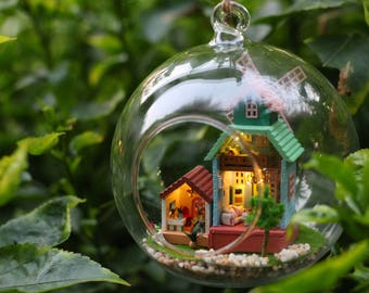 Windmill Glass Ball with Light* DIY Handcraft Miniature Project Kit * House model making project