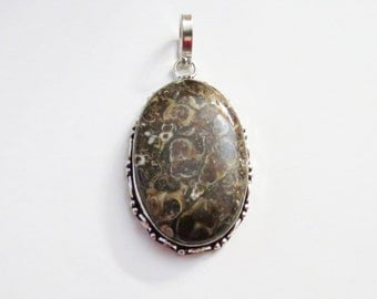 Womens Pendant, Turitella Fossil Agate Gemstone Pendant, Turitella Sterling Silver Pendant, Turitella Gem Necklace, Fossil Jewelry