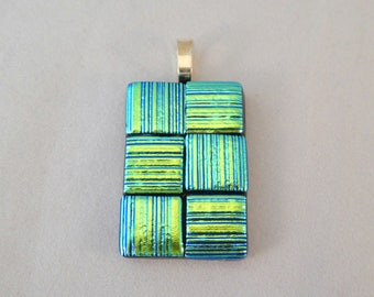 Green Dichroic Fused Glass Pendant, Fused Glass, Fused Glass Pendant, Necklace Pendant, Dichroic Pendant, Dichroic, Green,Rectangle