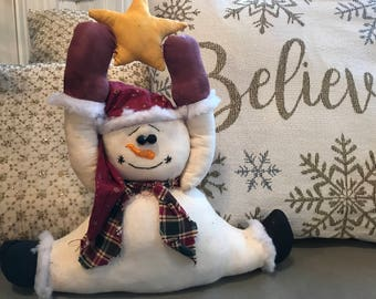 Primitive Snowman Doll Decoration, holding s Shining Star, Believe in Christmas