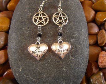 Blessed Be Pentagram Earrings - Pentagram Earrings, Pentacle Earrings, Blessed Be, Wicca, Wiccan Jewelry, Wiccan Earrings, Pentagram Jewelry
