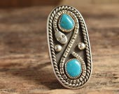 Turquoise Snake Ring - Size 9.25 - Vintage turquoise jewelry - Big Turquoise Ring - Large Turquoise Rings - Rattlesnake jewelry -  long ring
