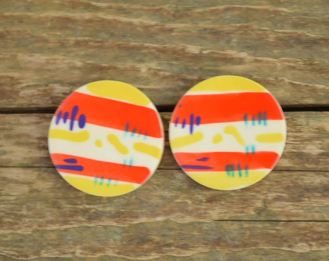 Featured listing image: Funky earrings - striped earrings - 80s earrings - purple yellow round earrings - abstract earrings, abstract art earrings, Bright earrings