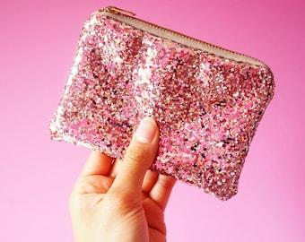 Blush Pink Glitter Coin Purse, Sparkly Pink Coin Purse, Blush Pink Glitter Zipped Pouch, Light Pink Coin Pouch, Pink Glitter Card Holder,