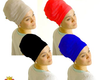 Lot of 2 STRETCHY CAP - Stocking cap - Stretch tam - Black, Blue, Red or Beige - Hat for Dreadlocks & natural hair - Men, Women headwrap
