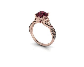 Belladonna Rhodolite Garnet and Black Diamond Skull Ring : With your choice of stone size and metal!