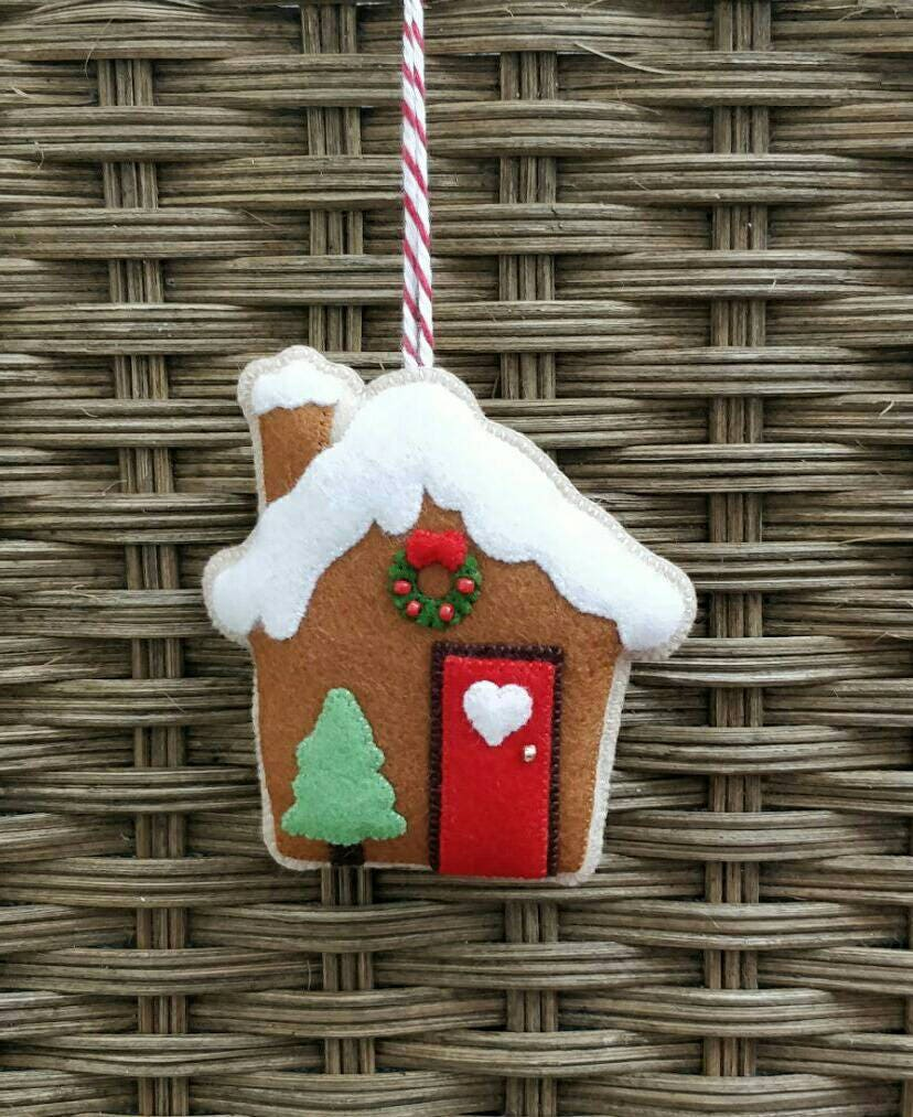 Christmas Felt Gingerbread House Ornament