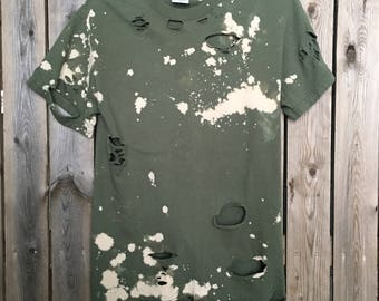 Bleached,  distressed t shirt,size small, destroyed  tee, soft grunge, distressed