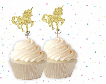 Unicorn Cupcake Toppers - Unicorn Cupcake Toppers, First Birthday Cupcake Toppers, Girl Cupcake Topper, Fairy Tale Party, Gold Unicorns