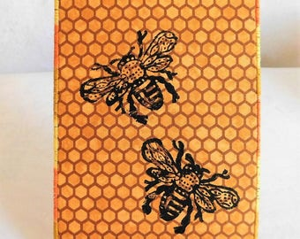 Honeybees Fabric Postcard