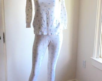 Vintage Kids Long Underwear / Unisex / Duofold / Cotton long underwear set / Snowflake Pattern / White / Size 12 / vintage underwear