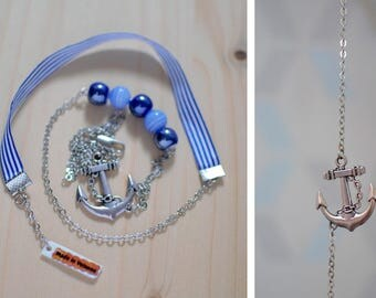 Navy blue anchor - sailor striped Ribbon - anchor charm necklace - pendant pearls striped and Pearly blue - silver metal, glass, ceramic