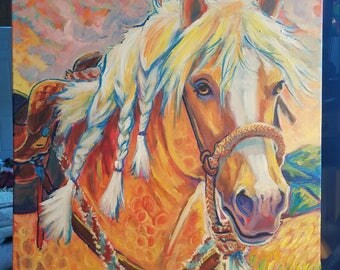 Horse palomino quarter horse stallion original painting on canvas