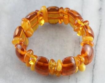Chunky Amber Bracelet, Beaded Bracelet, Costume Jewelry NTNAM5-P