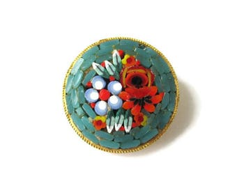 Italian Micro Mosaic Pin/ Round Teal Green Micromosaic Brooch/ Red Floral Gold Tone  Pin /Blue White Millefiori Flowers Roped Bezel
