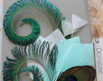 Mint  Peacock Feather Hair Clip, Green Peacock  Headpiece, Feather Fascinator ,Prom Headpiece, Wedding Headpiece, Mint Wedding