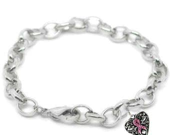 Breast Cancer Awareness Charm Bracelet, Cancer Awareness Gift, Cancer Survivor Gift