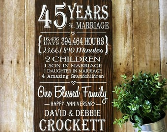 45 Years Anniversary Sign, 45th Anniversary, Keepsake Gift, Gift for Parents
