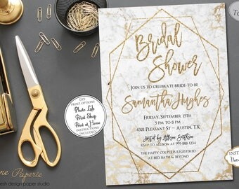 INSTANT DOWNLOAD - Marble Bridal Shower Invitation - Gold Glitter - Modern Geometric Invite - White Rose Gold Copper Metallic Bridal 0662