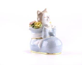 Cat in a Shoe Trinket Box Faberge Style Decorated with Swarovski Crystals Unique Home Decor by Keren Kopal