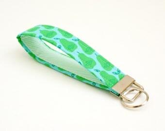 Pear Keychain - Aqua Blue and Green - Key Fob - 5 Inch Key Ring Wristlet - Loop Keyring - Cute Key Strap - Short Lanyard - Fruit - Stripes