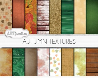 "Fall & Autumn Digital Papers ""Autumn Textures"" with rich earthy hues, fall season, autumn leaves, burlap, wood, bokeh, marble, watercolor"