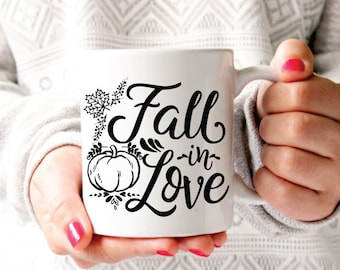 Fall in Love, Fall Coffee Mug, Fall Mug, Autumn Mug, Fall Decor, Fall Coffee Cup, Pumpkin Mug, Fall Gift, Fall Lover Gift, Fall Engagement