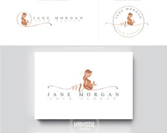 Pregnant lady script butterfly healthcare logo Douala Initials moms care wedding boutique feminine elegant fashion business cards banner