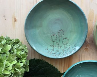 Ceramic Saucer with flowers
