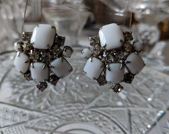 Milk Glass & Rhinestone Clip On Earrings