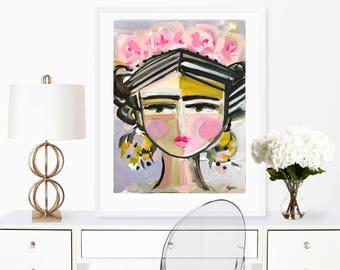 Frida Portrait, Print on paper or canvas, roses