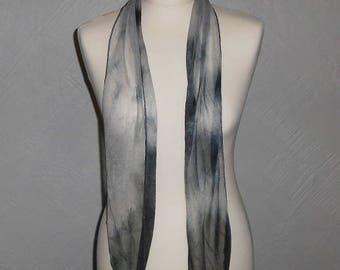 Grey Tone Soft Sheer Scrunch Tie Dyed Neck Scarf, Sash, Belt, Head Scarf Wrap, Pussy Bow 15 x 150 cm