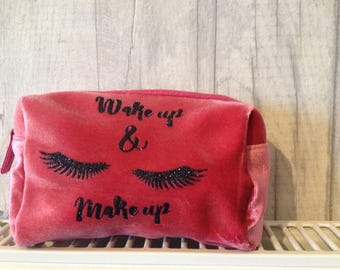 Pink Velvet Make up bag