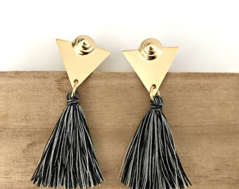 Tassel stud earrings, gold triangle earrings, gray tassel earrings, Nulika.