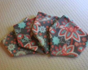 Fleece Neckie - Cozy Grey, Blue, and Pink Floral Pattern