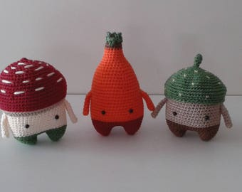 Set of 3 - 4 Seasons series from Lalylala : Autumn (toadstool, rose hip, acorn) - Crochet plushies - Handmade stuffed toy