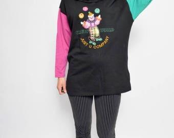 Vintage Color Block Sweatshirt / Clown Long Sleeve Top - Size Medium
