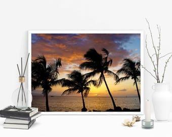 Palm trees photo Hawaii art  Sunset photo Beach photo Ocean art Palm tree decor Tropical home decor Beach photography Photos of Hawaii