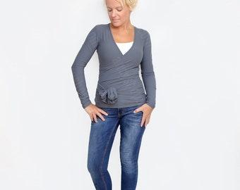 Wrap Top, Convertible Shirt, Maternity Shirt, Wrap Blouse, Gray Wrap Top, Convertible Top, Wrap Blouse, Yoga Top, Grey Top, Unique Shirt