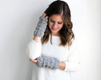 Fingerless Gloves Knit Grey Marble- Solomon Gloves