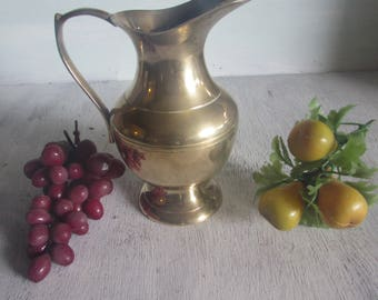 Vintage Solid Brass Pitcher/Vase with Brass Handle by PWF India.