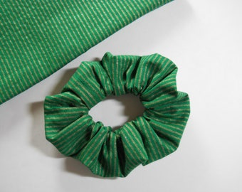 Gold Stripes On Green Scrunchie