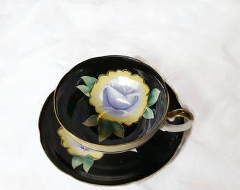 Black Vintage Floral Demitasse Cup and Saucer Set - Porcelain Hand Painted Elegance